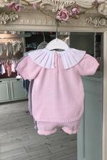 Baby pink ballerina frill collar knitted set