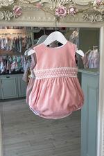 Phi pink velvet lace trim romper