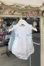 Paris blue and white bow romper