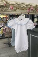 St Tropez blue trim short sleeve frill collar vest