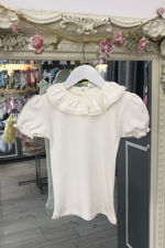 Monaco cream frill collar t-shirt