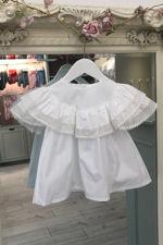 Phi white frill lace trim blouse