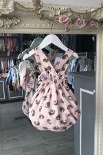 Phi pink hedgehog print bow romper