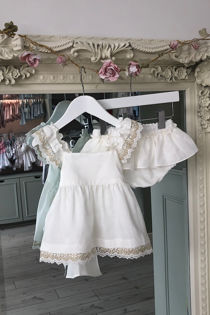 Roma cream gold lace two piece set