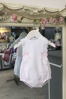 Paris pink and white bow romper