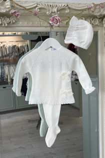 Juliana cream bow three piece knitted set