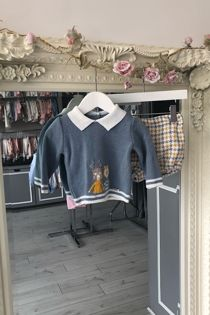 Foque boys blue and yellow houndstooth set