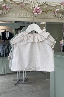 Alexa beige frill collar blouse