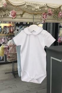 Cannes white trim short sleeve frill collar vest