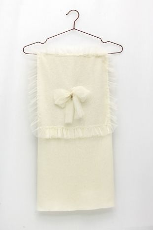 Foque cream wool blanket with tulle