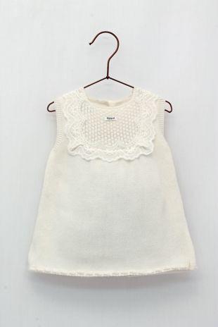 Foque cream lace trim knitted dress