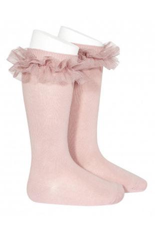Condor tulle dusky pink knee-high socks
