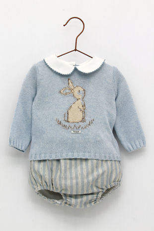 Foque boys blue knitted bunny set