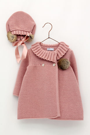 Foque dusky pink knitted coat and bonnet set