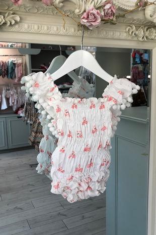 Phi flamingo print cotton romper