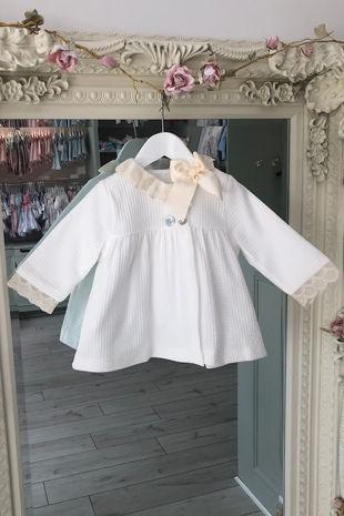 Valentina cream lace trim coat