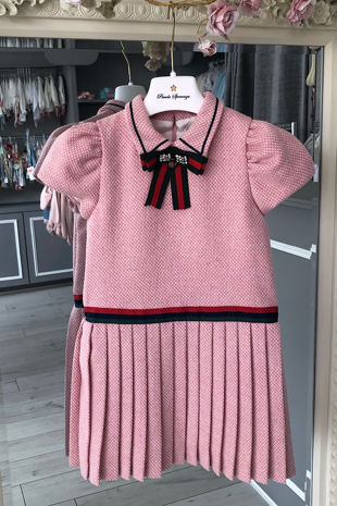 Piccola Speranza pink wool pleated dress
