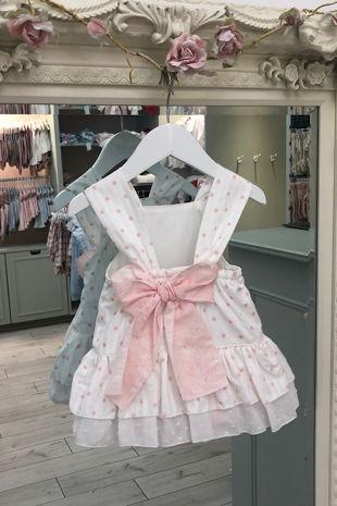 Piccola Speranza pink polka dot bow romper