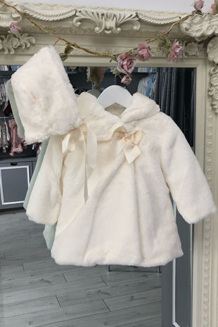 Valentina cream faux fur coat and bonnet set