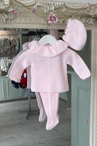 Juliana Sadie baby pink three piece knitted set