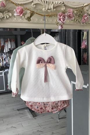 Miranda cream and dusky pink floral jam pants set