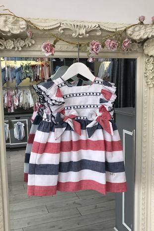 Jose Varon ruby striped dress