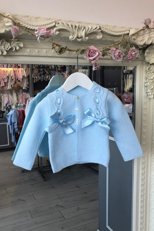 Blue bow cardigan