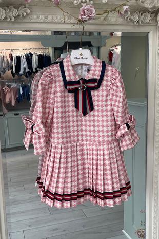 Piccola Speranza houndstooth pink dress