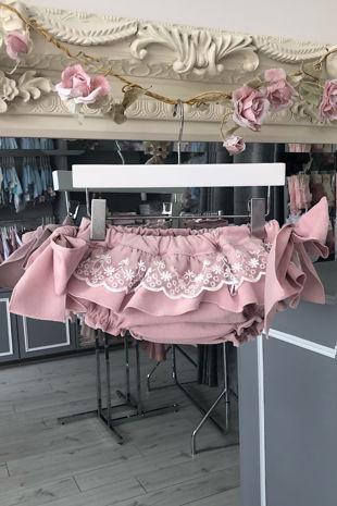 Phi dusky pink velvet lace jam pants