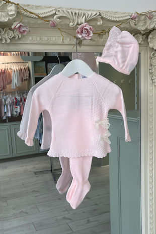 Juliana pink bow three piece knitted set