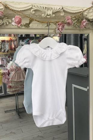 St Tropez white short sleeve frill collar vest