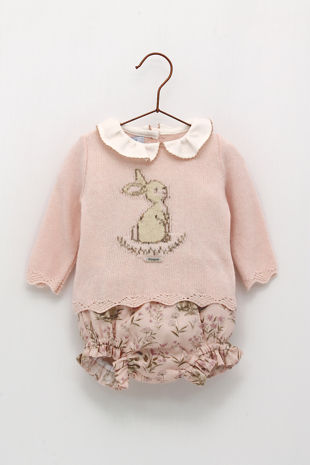 Foque girls pink knitted bunny set