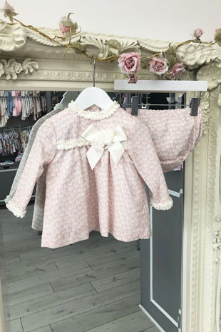 Foque pink sheep print dress and knickers set