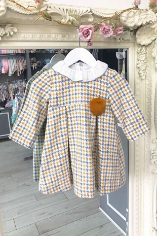 Foque yellow and blue check dress