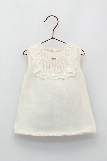 Foque cream lace trim knitted dress
