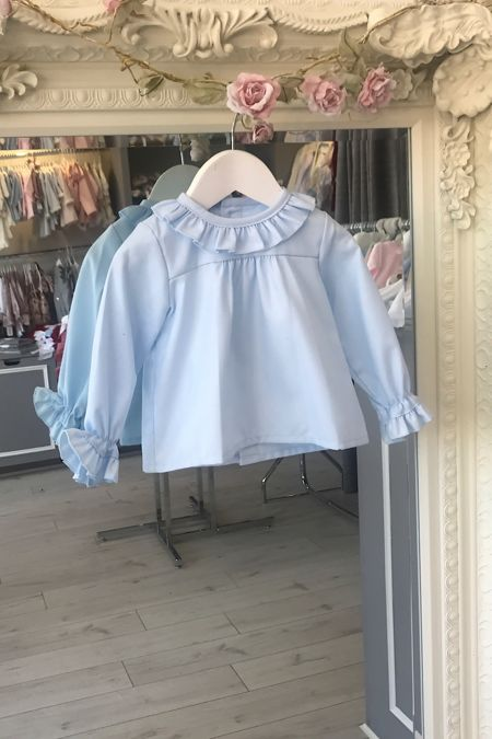 Amelia blue frill cuff long sleeve blouse