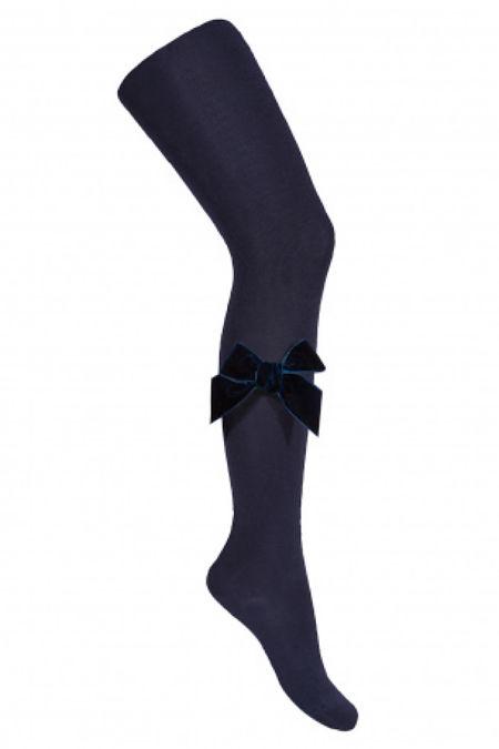 Condor navy velvet bow tights
