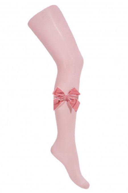 Condor dusky pink velvet bow tights
