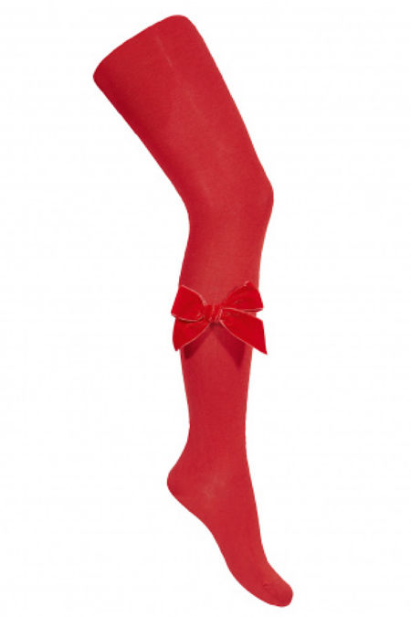 Condor red velvet bow tights