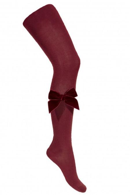 Condor burgndy velvet bow tights