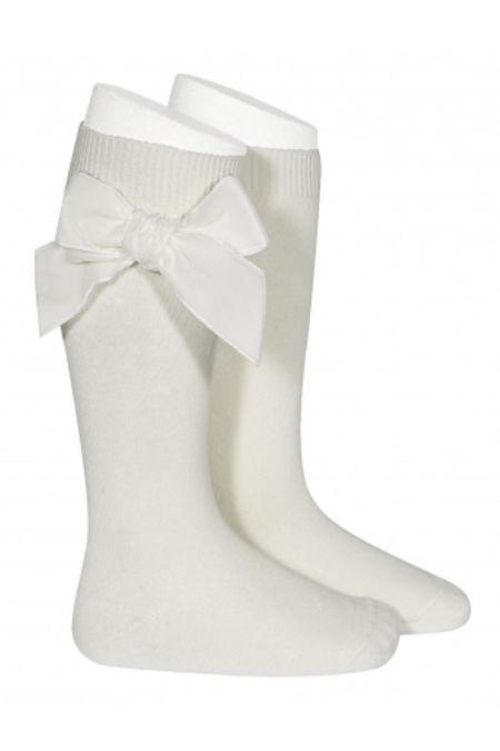 Condor cream velvet bow knee-high socks