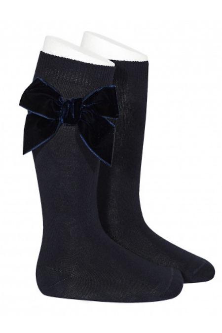 Condor navy velvet bow knee-high socks