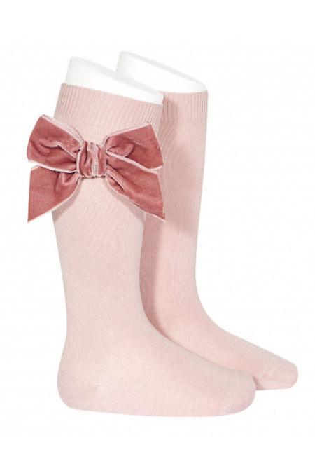 Condor dusky pink velvet bow knee-high socks