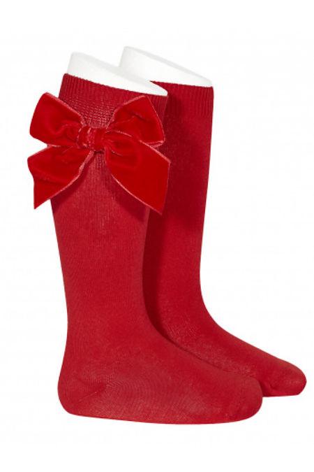 Condor red velvet bow knee-high socks