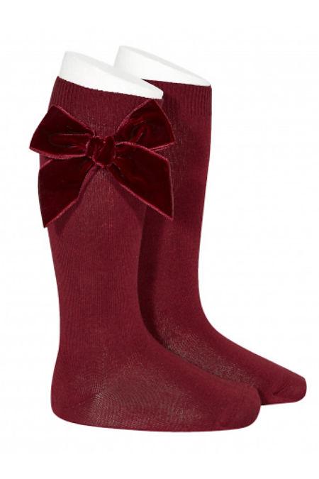 Condor burgundy velvet bow knee-high socks