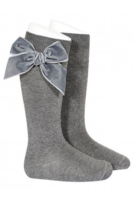 Condor grey velvet bow knee-high socks