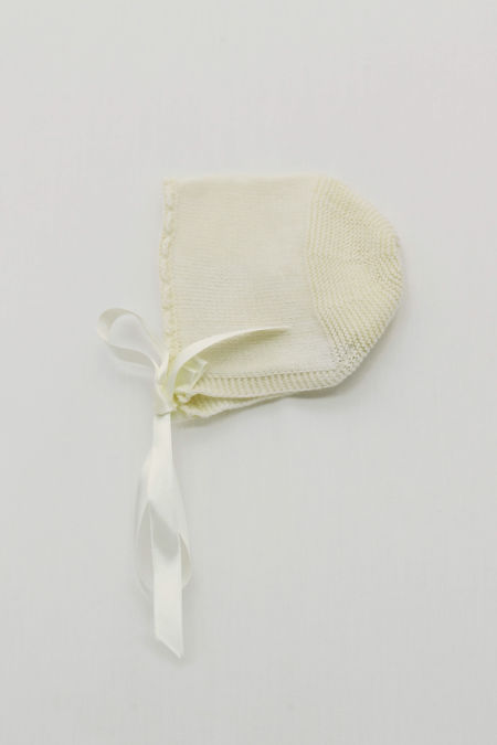 Foque cream ribbon knitted bonnet