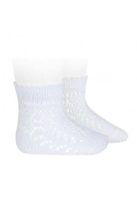 Condor blanco perle openwork ankle high socks