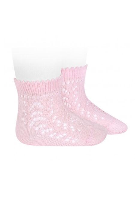 Condor baby pink perle openwork ankle high socks