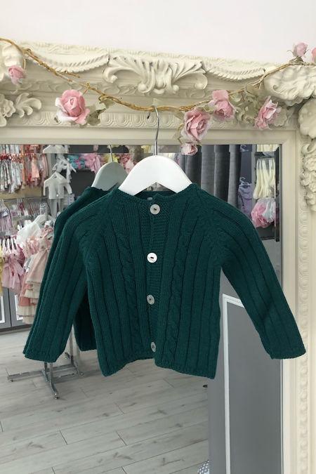 Yoedu bottle green cable knit cardigan